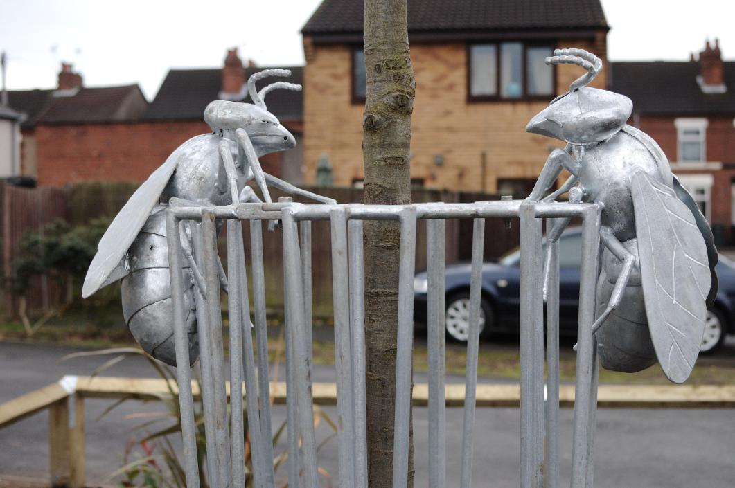 Bee Sculptural Tree Guard - Iden Road Coventry - DIY Streets Sustrans - Thrussells