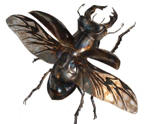 Flying giant Stag Beetle made of metal with clear resin wings