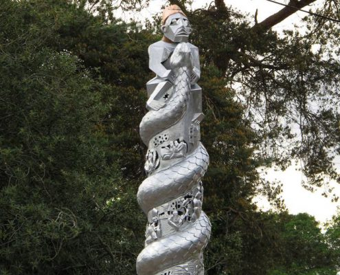 sculpture of a snake and imagery of HM Stanley the explorer