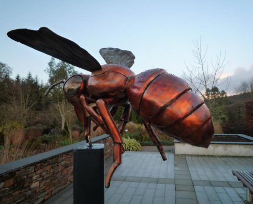 Copper and stainless steel giant Bee sculpture. Made by Thrussells