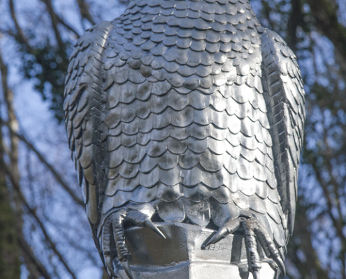 Peregrine Falcon Sculpture. Made by Thrussells. Plym Bridge Woods