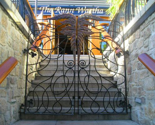 Green Man design gates for Wetherspoons, St Austell. Made by Thrussells