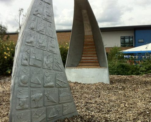 Storytelling Thrones for Rickley Park School depict the local history in Milton Keynes. Made by Thrussells