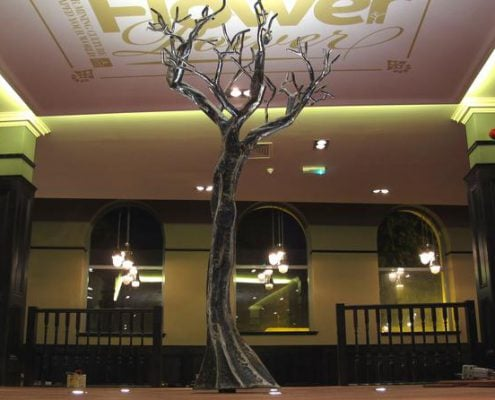 Steel tree sculpture at Wetherspoons in Camborne/ Made by Thrussells