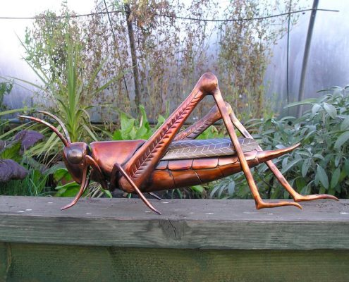 Copper Grass Hopper sculpture. Made by Thrussells