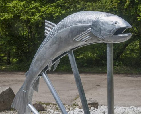 Camel Trail Salmon Sculpture made with St Tudy Primary School. Made by Thrussells. Poley Bridge, Cornwall. Public Art Cornwall