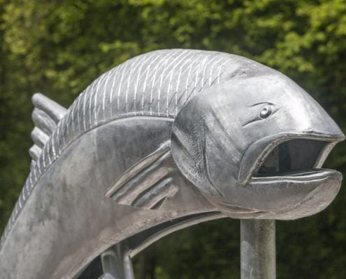 Closeup image of Camel Trail Salmon Sculpture made with St Tudy Primary School. Made by Thrussells. Poley Bridge, Cornwall. Public Art Cornwall