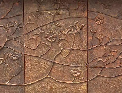 Copper Repoussé tree wall sculpture panels. Made by Thrussells. Mayfair, London