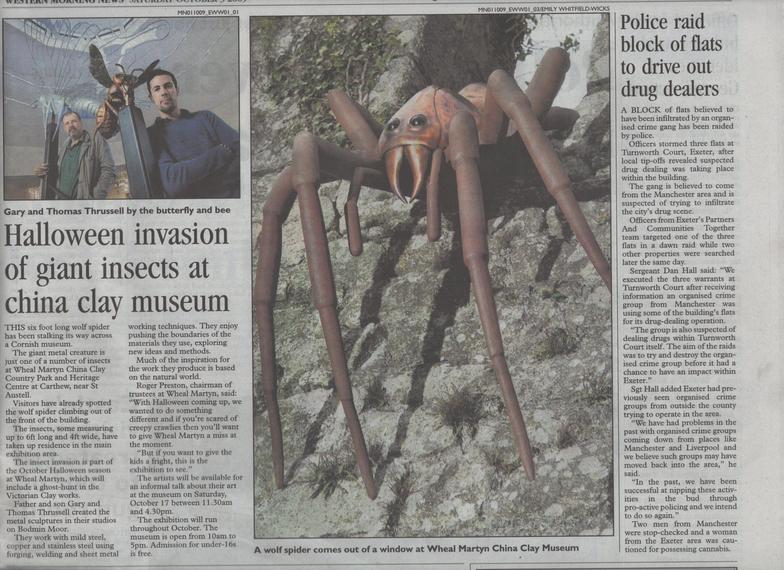 Newspaper article feating Thrussells