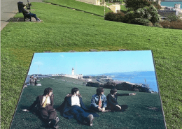 Information sign tells of where the Beatle sat on Plymouth Hoe.