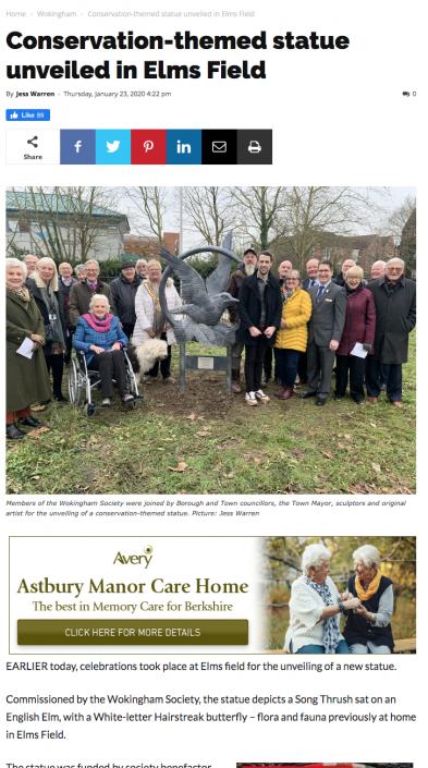 Elms Park's Bird Sculpture. Wokingham 2020