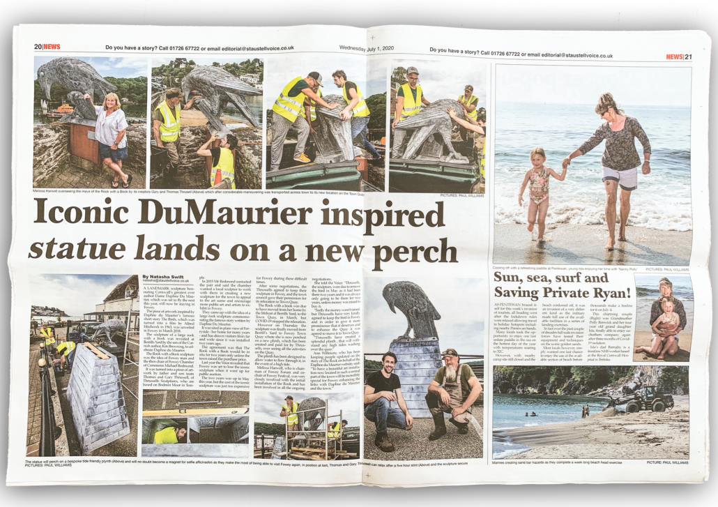 St Austell Voice full page feature July 2020. Thrussells. Fowey sculpture