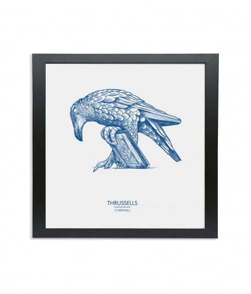 Black wooden square frame print with Thrussells blue bird