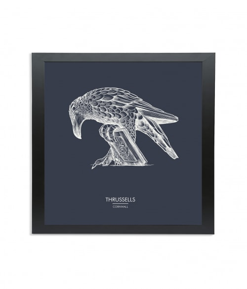 Black wooden square frame print with Thrussells cream bird on navy blue