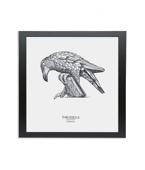 Black wooden square frame print with Thrussells grey bird