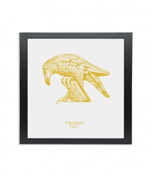 Black wooden square frame print with Thrussells yellow bird