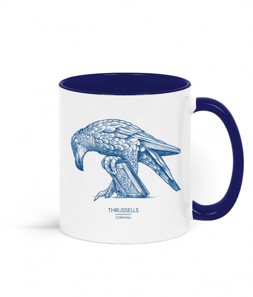 Two tone white and navy blue mug with Thrussells blue bird right view