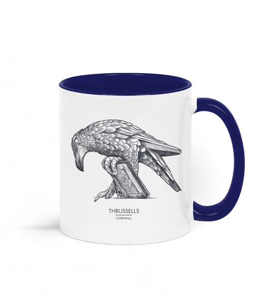 Two tone white and navy blue mug with Thrussells grey bird right view
