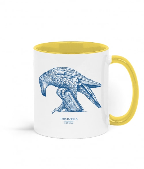 Two tone white and yellow mug with Thrussells blue bird right view