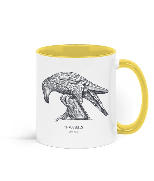 Two tone white and yellow mug with Thrussells grey bird right view