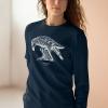 Unisex navy blue sweatshirt with Thrussells cream bird on woman