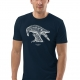 Unisex navy blue t-shirt with Thrussells cream bird on man