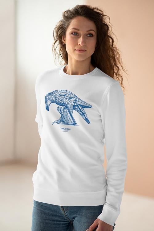 Unisex white sweatshirt with Thrussells blue bird on woman