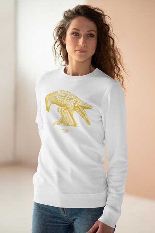 Unisex white sweatshirt with Thrussells yellow bird on woman