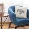 Square 50x50 cushion with Thrussells grey bird on chair