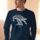 Unisex navy blue sweatshirt with Thrussells cream bird on man