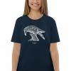 Unisex navy blue t-shirt with Thrussells cream bird on woman