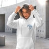 Unisex white hoodie with Thrussells blue bird emblem front print on woman