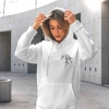 Unisex white hoodie with Thrussells grey bird emblem front print on woman
