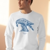 Unisex white sweatshirt with Thrussells blue bird on man