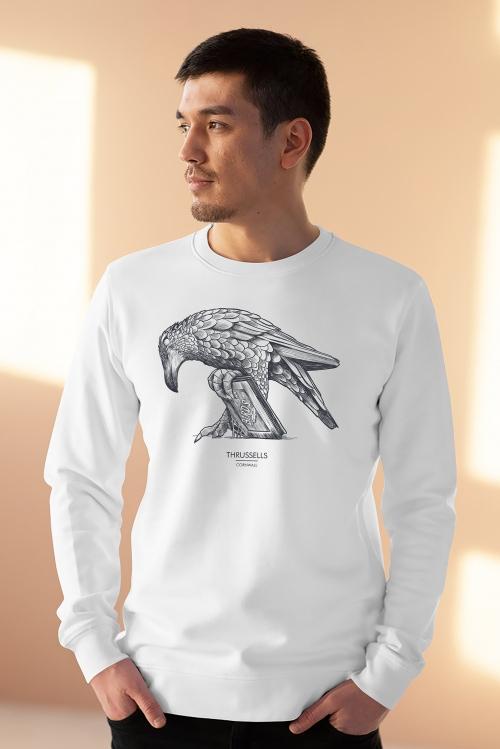 Unisex white sweatshirt with Thrussells grey bird on man