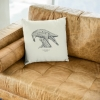 Square 50x50 cushion with Thrussells grey bird in living room