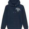 Unisex navy blue hoodie with Thrussells cream bird emblem front print