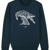 Unisex navy blue sweatshirt with Thrussells cream bird