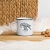White enamel mug with Thrussells grey bird in kitchen