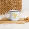 White enamel mug with Thrussells yellow bird in kitchen