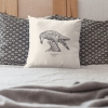 Square 50x50 cushion with Thrussells grey bird in bedroom