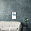 Black wooden A3 frame print with Thrussells blue bird by sofa