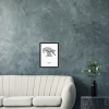 Black wooden A3 frame print with Thrussells grey bird by sofa