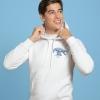 Unisex white hoodie with Thrussells blue bird emblem front print on man