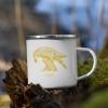 White enamel mug with Thrussells yellow bird outdoors camping